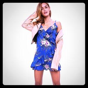 Blue Floral Print Cold Shoulder Tea Dress